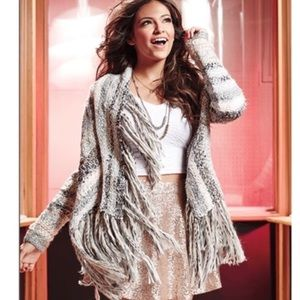 Bethany Mota Sweater Cardigan Tweed Fringe…